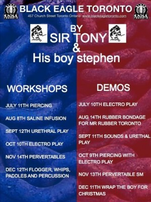 SIr Tony's Demo/Workshop Schedule